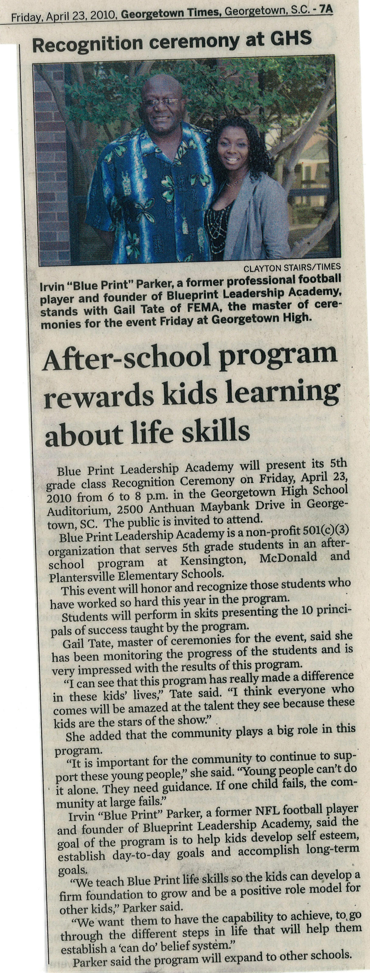 Blueprint leadership academy press releases by clayton stairs georgetown times 2010 malvernweather Image collections